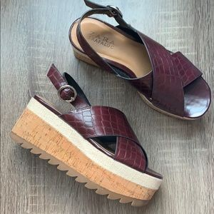 Zara | Platform Sandals Burgundy Wedge Size 36